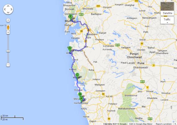 Harihareshwar to Mumbai - Route 2